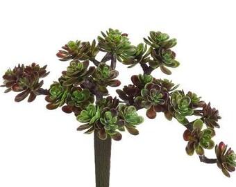 Burgundy GREEN Sedum Pick - Artificial Flowers, Flower Crown, Terrarium, Fairy Garden