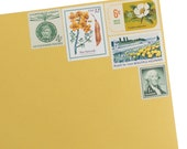 Yellow Floral - Vintage Postage Stamps for 5 Envelopes