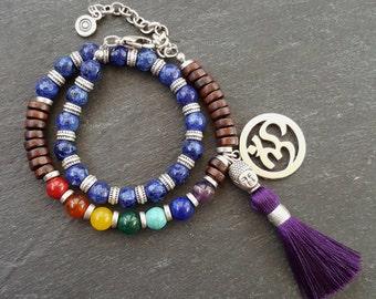 Blue Purple Double Wrap Beaded Chakra Yoga Bracelet - Buddha Tassel Gypsy Jewelry Hippie Bohemian Artisan