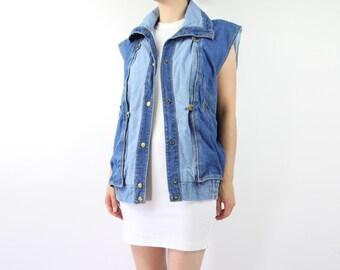 VINTAGE Denim Jacket 1980s Sleeveless Mix Jean