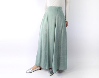 VINTAGE 1990s Maxi Skirt Pale Green Dyed Long