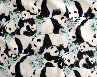 Panda Bear Fabric  Cotton Material  with Panda Bears Timeless Treasures Sewing Supply Quilting Fabric Craft Supply