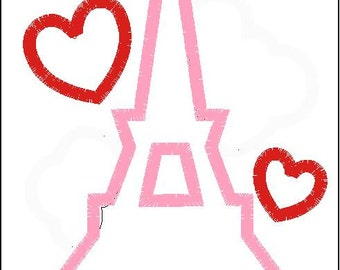 Girl's Eiffel Tower with Hearts Valentine's Day Shirt, Girl's Eiffel Tower Shirt, Girl's Valentine's Day Shirt