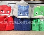 Bedtime Hero Masks Hooded Towel - Pj Mask Birthday - Pj Mask Christmas Gift - Personalized Pj Mask Gift