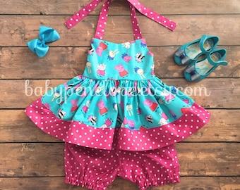 The Marilyn Dress - Peppa Pig - Peppa Pig Birthday - Peppa Pig Outfit - Peppa Pig Birthday Gift - Peppa Pig Dress for Girl - Peppa Pig Set