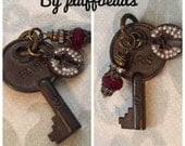 New CHARM dangle drop set aged patina brass PARIS key wire wrap Red jade gemstone rhinestone pave cut out cross