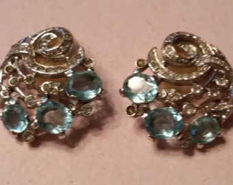 Vintage Trafari Silver Tone Clear and Pale Blue Rhinestones Earrings Faceted Clip On Earrings Bride Bridal Something Old Something Blue