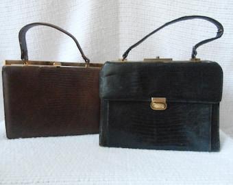 2 Vintage 1950s Handbags, Purses, TLC, Brown, Black, Gold Tone Hardware