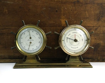 Airguide Brass Thermometer and Barometer / Vintage Nautical Office Decor