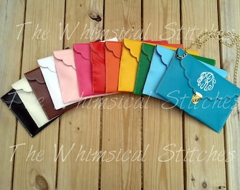 Monogrammed Clutch Purses -Monogrammed Envelope Clutch/Crossbody