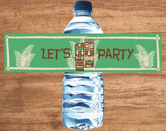 Instant Download Tiki Party Water Bottle Labels