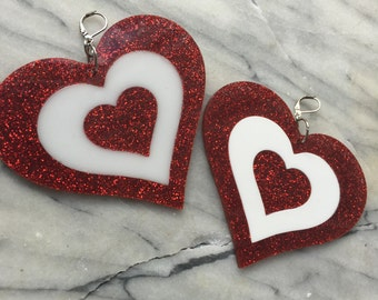 Heartbreaker earrings red glitter/white earrings (ready to ship)