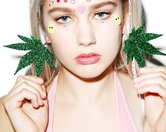 Weed Leaf Earring Pair