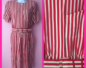 Vintage 1980s Red and White Candy Cane Striped Dress with Matching Belt