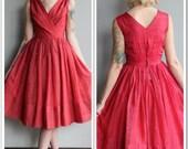 1950s Dress // Red & Gold Sari Formal Dress // vintage 50s dress