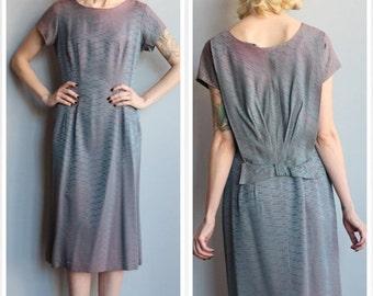 20% Sale 1960s Dress // Blue Iridescent Stripe Sheath Dress // vintage 60s dress