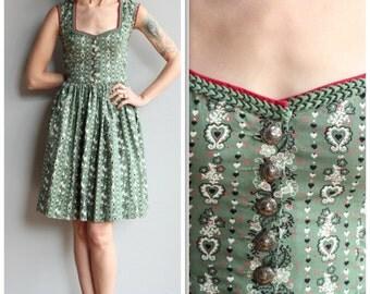 1950s Dress // Wallach Floral Dirndl Dress // vintage 50s dress