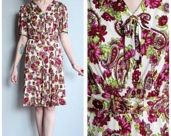 1930s Dress // Burgundy Dark Floral Rayon Jersey Dress // vintage 30s dress
