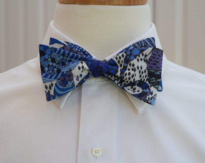Men's Bow Tie, Liberty of London cobalt blues/ivory/navy blue abstract Fornasetti Forest bow tie, groom/groomsmen bow tie, wedding bow tie