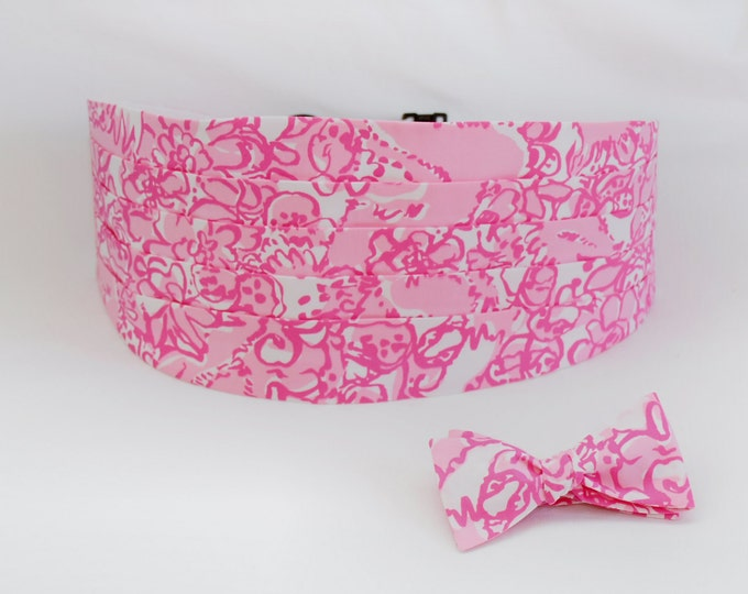 Lilly Cummerbund & Bow Tie, pink She's A Fox, groom formal wear, wedding party attire, Lilly menswear, tuxedo accessory, custom cummerbund