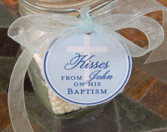 """Baptism Kisses Custom Favor Tags - For Cake Pops - Lollipops - Cookies - Catholic party favors - (30) 1.5"""" Personalized Printed Tags"""