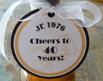 """50 Birthday Custom 3"""" Favor Tags - Cheers to 40 Years! - for Wine or Champagne Bottles - Gift Favor Tags - Personalized Thank You Tags"""