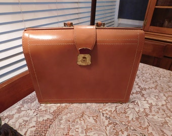 Cowhide briefcase attache tan leather laptop netbook case bag top grain American made has key and locks