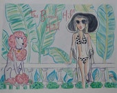 NEW California Vogue | The Beverly Hills Hotel Print of Watercolor | Hollywood California | hotel banana trees art pink tropical art poodle