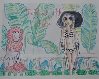 California Vogue | The Beverly Hills Hotel | Watercolor Painting | Hollywood California | hotel banana trees art pink tropical art poodle