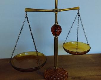 Vintage Balance Scale Brass & Amber Glass Mid-Century