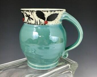Dragonfly and Berry Porcelain Sgraffito Coffee Mug Robins Egg Blue Food Safe