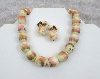 """Marvella choker Necklace & clip earrings - Unusual  pink and gold """"Painted"""" look-  1960s"""