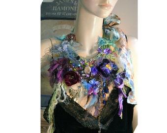 Antique Details Unique Necklace SWEET VIOLETS and VELVET PANSIEs Dep Forest Fairy Marie Antoinette Silks Tattered