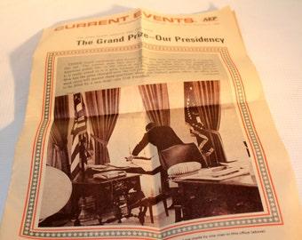 JFK vintage current events paper The Grand Prize - Our Presidency vol. 68 Nov 6 1968