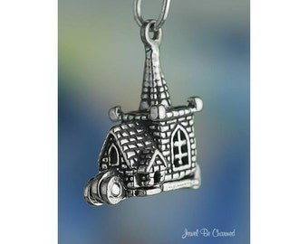 Church Charm Sterling Silver Movable 3D Marriage Wedding Inside .925