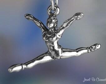 Sterling Silver Ballerina Charm 3D Ballet Dancer Split Leap Jump .925