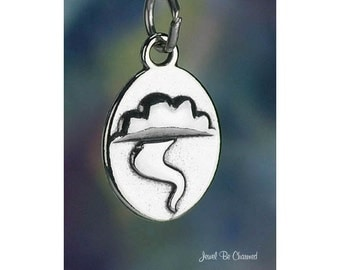 Tornado Charm Sterling Silver Weather Storm Funnel Cloud Solid .925