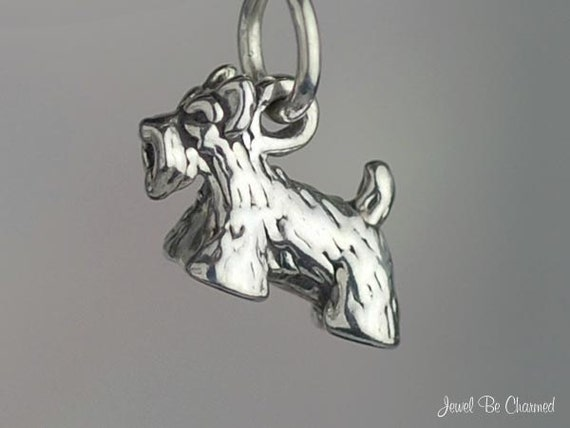 Sterling Silver Miniature Scottish Terrier Charm Scottie 3D Solid .925