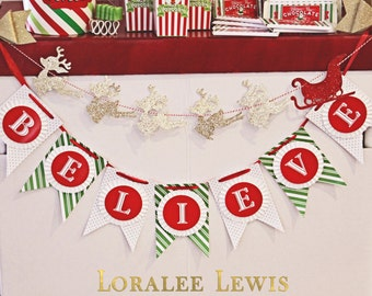 St. Nick Cinema Collection Double Pennant Rosette Banner by Loralee Lewis