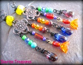 Unique Glass Chandelier Earrings, Funky Colorful Earrings, Bright Multi Colored Hippie Earrings, Hippie Jewelry, African Jewelry