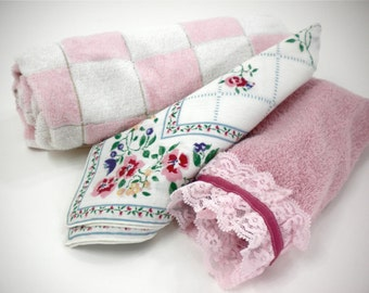 Bathroom linens 3-piece set includes vintage checkered bath towel, pink hand towel and floral cloth napkin