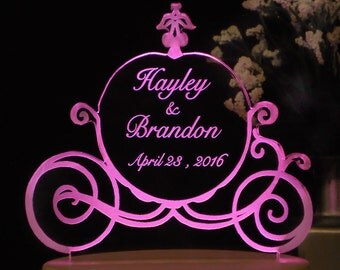 Fairytale Carriage Cake Topper - Acrylic - Personalized - Light EXTRA