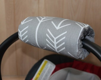Infant Car Seat Padded Handle gray arrows-