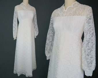 1960s Empire Waist Lace Wedding Dress / Boho Bridal