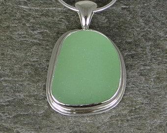 Seafoam Sea Glass Bezel Pendant Necklace