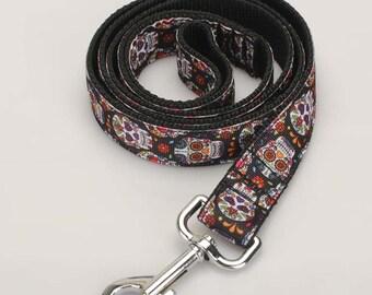 Handmade Sugar Skull Dog Leashes Grosgrain Ribbon Dog Leashes 2.5  x 120 cm
