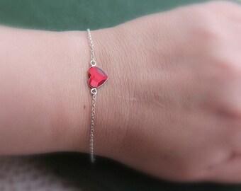 SALE, Heart Charm Bracelet, Heart Bracelet, Crystal Heart Bracelet, Tiny Heart Bracelet,Charm Bracelet, Bridesmaid Bracelet, Bridesmaid Gift