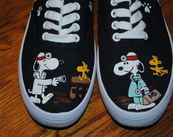 New Veterinarian Shoes Hand Painted with Snoopy MD and woodstock as patient size 6.5  --- sold