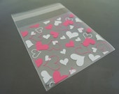 Small Plastic Bags Self Adhesive Plastic Transparent Clear Gift Bag with Hearts Pink and White 48pcs