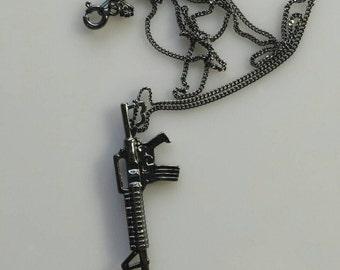 Oxidized silver Machine gun pendant black